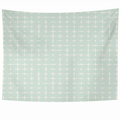 Ahawoso Tapestry 80 x 60 Inches Geo Green Pattern Abstract Infinity Mint Beige Spring Mini Geometric Basic Small Design Wall Hanging Home Decor Tapestries for Living Room Bedroom Dorm