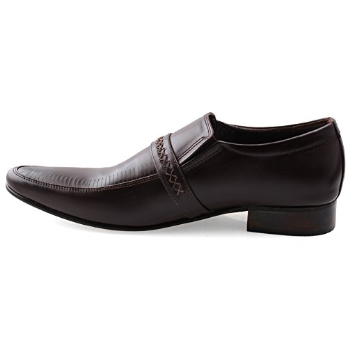 cuero Unze hombre de Slipons para Marrón Vestido Zapatos qHE1H7Aw
