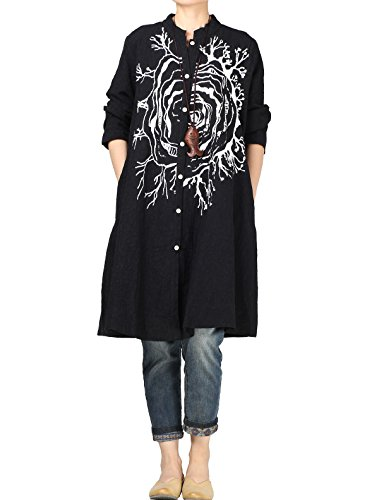 Mordenmiss Women's Spring Jacquard Embroidery Blouse Dress with Pockets XL Black