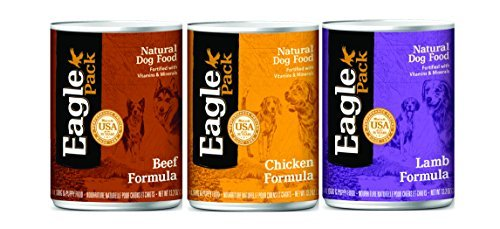 Eagle Pack Natural Canned Dog Food Mixed 13.2 oz x 12 cans – Beef, Chicken, and Lamb Formula