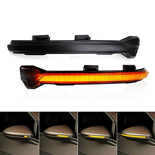 iJDMTOY Smoked Lens Dynamic Sequential Blink LED Side Mirror Turn Signal Light Strip Assembly For 2015-up Volkswagen Golf GTI MK7 VII