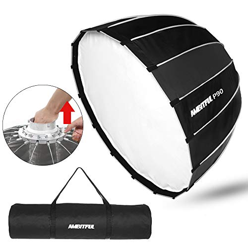 AMBITFUL Portable P90 90CM Quickly Fast Installation Deep Parabolic Softbox Bowens Flash Speedlite Reflector Studio Softbox