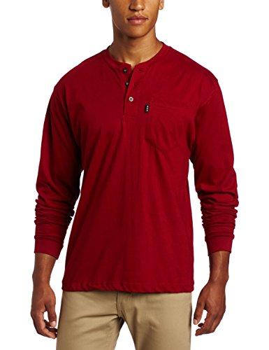 Key Apparel Mens Long Sleeve Heavyweight 3-Button Pocket Henley