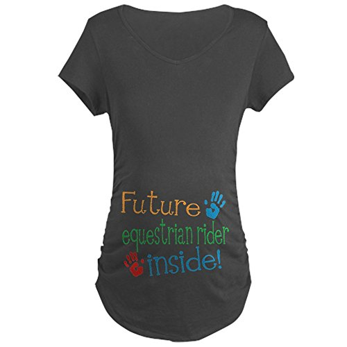 (CafePress Equestrian Rider Maternity T Shirt Cotton Maternity T-Shirt, Side Ruched Scoop Neck Charcoal)