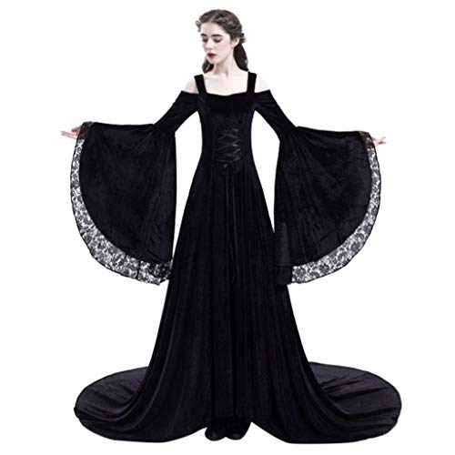 Mikilon Medieval Dress Long Renaissance Costume Gown Irish Over Deluxe Victorian Vintage Cosplay Women Black ()