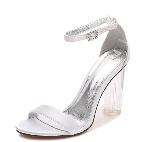 Cristal De Mujer Mujeres La 9 Peep Bajo Satén L F2615 Fiesta Talón Boda yc Baile Con Toe Bombas Zapatos White Para IWqW8t