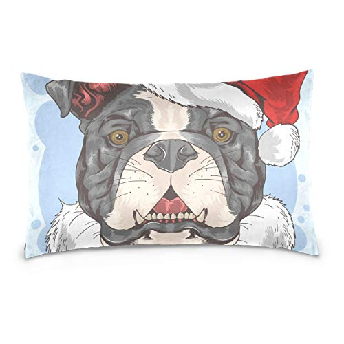 "Bulldogs Pillow Santa (DOMIKING Christmas Bulldog Santa Claus Print 100% Cotton Velvet Pillowcase with Hidden Zipper for Skin and Hair Health, Standard Size(20""x 26""))"