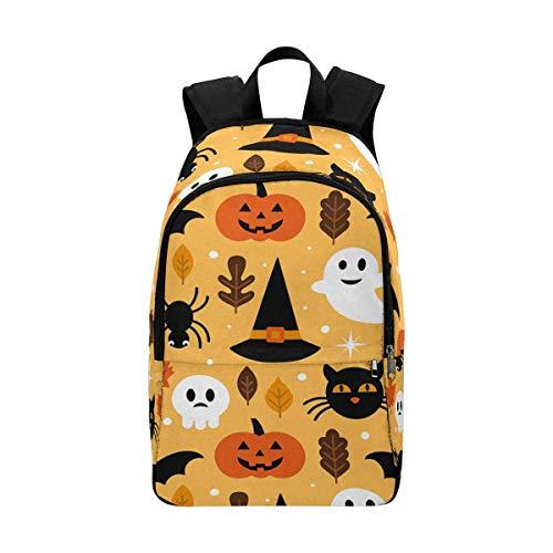 InterestPrint Skull, Pumpkin and Black Cat Halloween Casual Backpack Shoulder School Bag Travel Daypack -