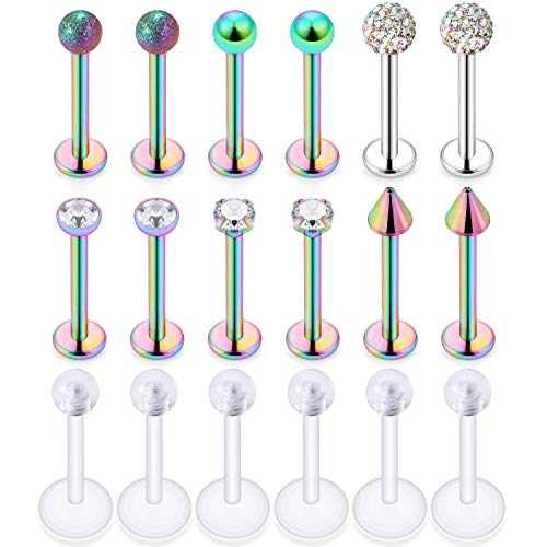 Ocptiy 16G 18Pcs Lip Rings Studs 316L Stainless Steel Clear CZ Monroe Labret Cartilage Helix Tragus Earring Ring Stud Piercing Jewelry Retaine 8mm Bar Length Mix Color