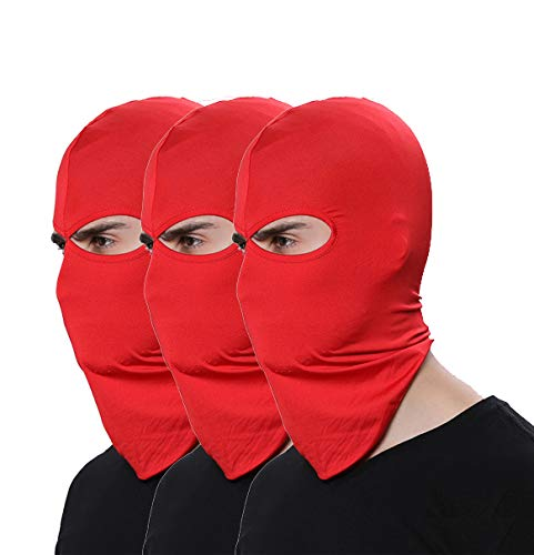 Pack of 3 Elastic Hat Outdoor Sport Airsoft Cap Thin Red Ski Mask Sun Balaclava Fishing Hunting Running Cycling Motorcycle Face Mask (Powersports Outdoor)