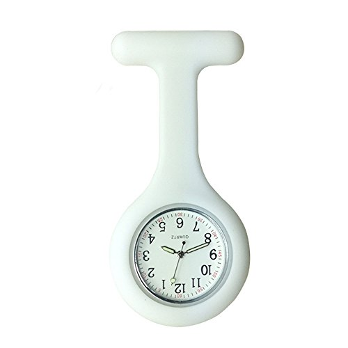 Silicone Pocket Brooch Clip Fob Medical Nurse Watch Pocket Clock Gift for Hospital Doctors Nursing Timepiece (白色) Pocket Watch Timepiece
