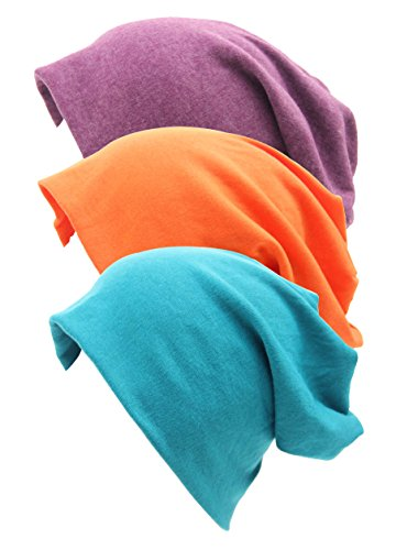 RRiody 3 Pack Unisex Indoors Cotton Stretch Beanie Hat- Soft Sleep Cap for Hairloss, Cancer, Chemo (3 Colors-2) ()