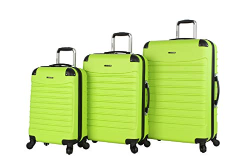 Ciao Luggage Voyager 3 Piece Hardside Spinner Suitcase Set Collection (Voyager Lime) ()