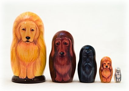 Golden Retriever Dog 5 Piece Russian Wood Nesting Doll Made in Russia Decoration