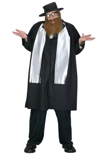 Fun World Men's Jewish Rabbi Plus Size Costume, Multi, -
