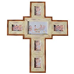 Giftgarden Wall Cross Decor Collage Picture Frame for Pray photo 4x6 and 2x3 Christmas Wall decorations