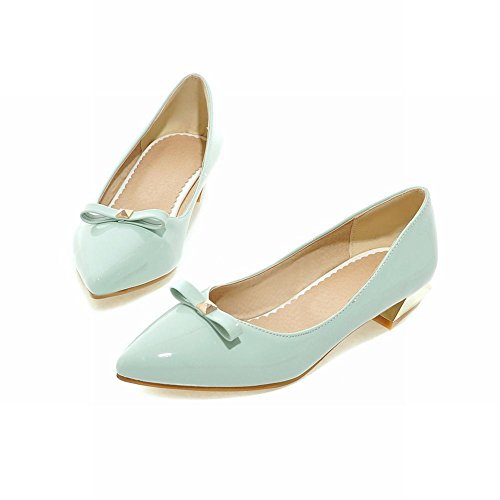 Show Shine Womens Sexy Bow Pointed Toe Loafers Shoes Light Blue W8dd2