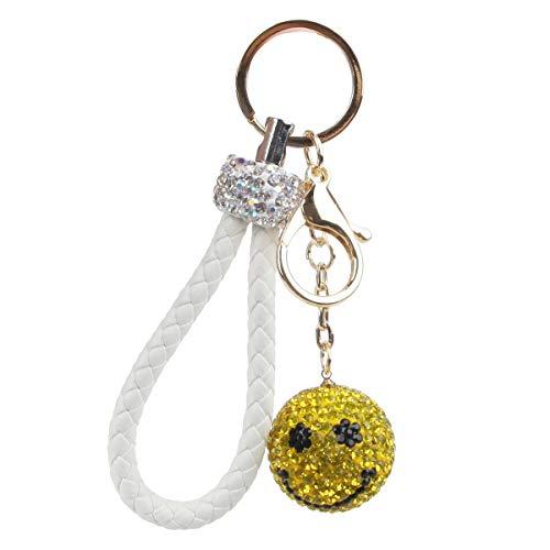 (Fawziya Crystal Smiley Face Keychains And Lanyards You Are My Sunshine-White)