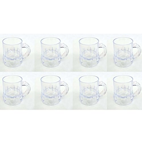 (Miniature Beer Mugs Shot Glasses Clear Cups Pub Stein 8 Count Plastic)