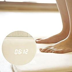 Smart Rug Alarm Clock Pressure Sensitive Digital Carpet with Date LED Display Electronic Customizable Alarm/Post Alarm Music Pressure Sensor For Kids Heavy Sleeper (40cm x 38cm,White)