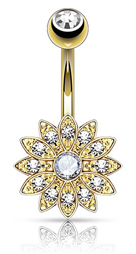 (14k Gold Plated Surgical Steel Crystal Paved Petite Flower Belly Ring with Crystal Center)