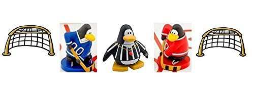 Hockey Special from Disney Club Penguin - Red and Blue Team Player, Referee and Two (2) Nets - Very Limited Supply - Play at ()