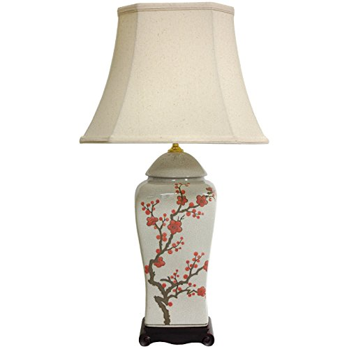 Oriental Furniture 26 Cherry Blossom Vase Lamp