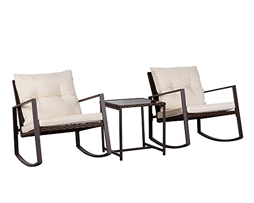Cheap Suncrown Outdoor 3-Piece Rocking Wicker Bistro Set: Brown Wicker Furniture – Two Chairs with Glass Coffee Table (Beige-White Cushion)
