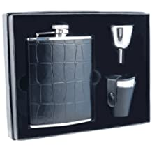 "Visol ""Beau Monde"" Crocodile Leather Deluxe Flask Gift Set, 6-Ounce, Black"