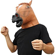 CreepyParty Novelty Halloween Costume Party Animal Head Mask Brown Horse (Silent)