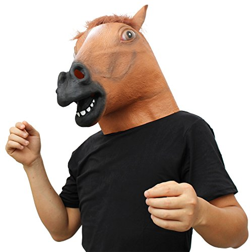 CreepyParty Novelty Halloween Costume Party Animal Head Mask Brown Horse]()