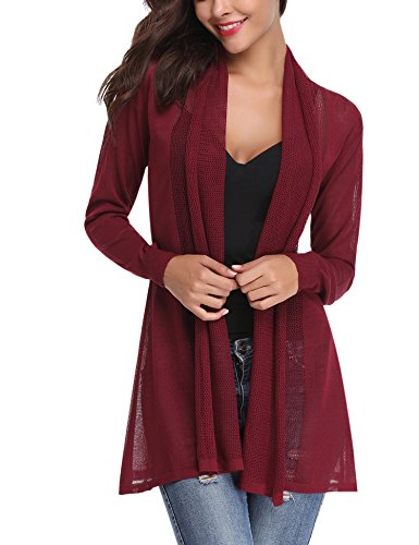 Abollria Womens Casual Long Sleeve Open Front Cardigan Sweater(Wine Red,S)