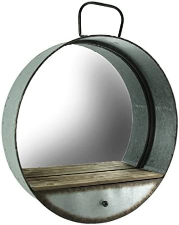 Special T Imports 20.5 Round Galvanized Metal Wall Mirror with Wooden Shelf