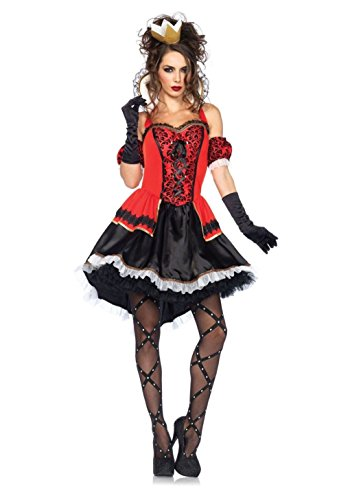 [Mememall Fashion Adult Womens Red Queen Golden Crown Costume Halloween Party Fancy Cosplay Dress] (Kids Deluxe Beetlejuice Costumes)