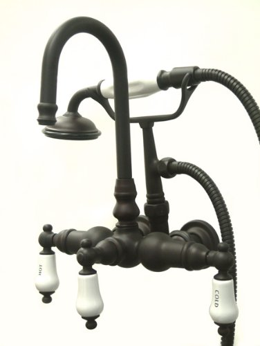Kingston Brass CC9T5 Vintage Leg Tub Filler with Hand Shower, Oil Rubbed Bronze (Faucet Clawfoot Mount Tub)