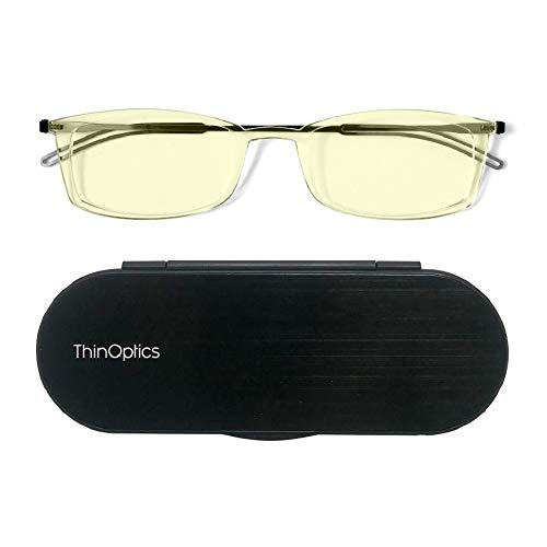 - ThinOptics Brooklyn Computer Glasses + Milano Anodized Aluminum, Magnetic case | Rectangular Clear Frames, 1.00 Strength