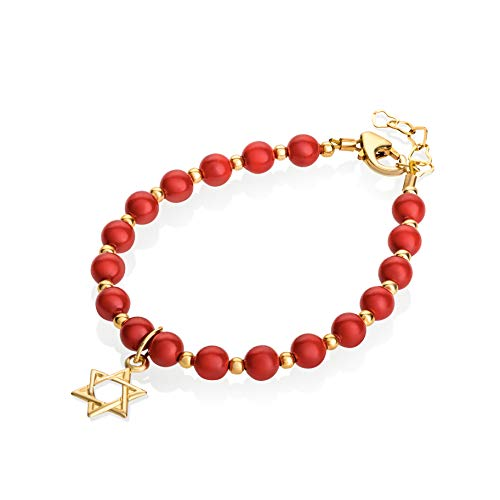Crystal Dream Luxury with 14KT Gold-Filled Star of David Charm Red Swarovski Simulated Pearls and Mini Beads Stylish Baby Unisex Bracelet (BCR-SD_S)