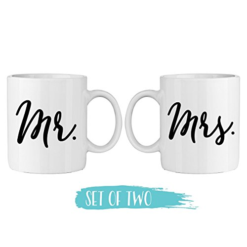 - Mr. and Mrs. Coffee Mug Set - 11oz Ceramic Coffee Mugs - Fox and Clover Original