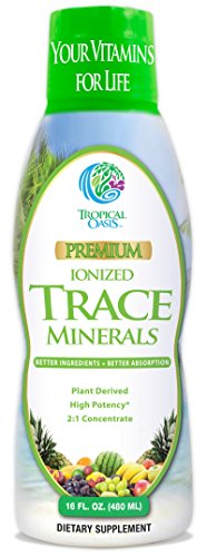 Tropical Oasis - Premium Ionized Plant Based Trace Minerals Liquid Formula- 74 essential minerals in liquid form for up to 96% Absorption - 16 oz, 32 servings (Plant Minerals)