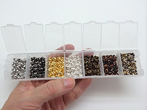 (PEPPERLONELY Brand 4mm Brass Crimp Bead Covers and 2mm Crimp Beads Silver, Platinum, Antiqued Bronze, Red Copper, Gunmetal, Golden Color)