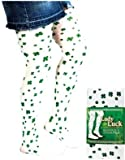 Kids St Patricks Day White Green Shamrock Stockings