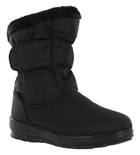 Annabelle Winter Fur Lined Jolene Touch Fastening Lighweight Womens Snow Boots Black