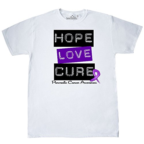 inktastic - Pancreatic Cancer Hope Love Cure T-Shirt Medium White - HDD