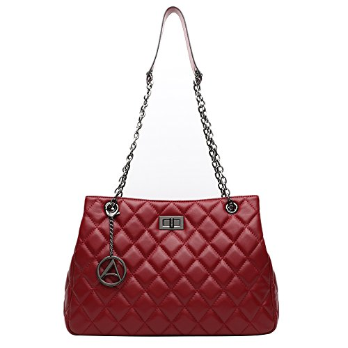 [MOTHER DAY GIFT] ANA LUBLIN Women Lambskin Leather Crossbody Bag Quilted Shoulder Bag Small Handbag Purse (Lamb Handbag)