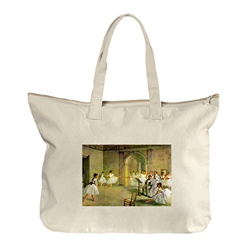 Hall Opera Ballet Rue Peletier (Degas) Canvas Beach Zipper Tote Bag Tote (Bag Degas Ballet)