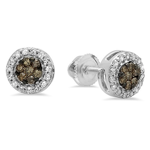 Dazzlingrock Collection 0.30 Carat (ctw) 10K Round Champagne & White Diamond Ladies Cluster Stud Earrings 1/3 CT, White Gold