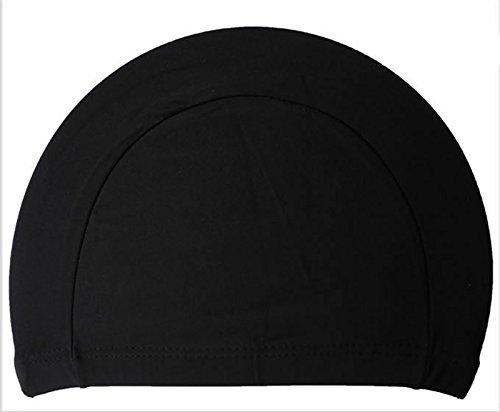 Ewinever 2pcs Lycra cloth pure color swimming cap swim cap swimming hat - Cap Swim Black