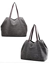 Sunwel Fashion Woman 3 Compartments Multi-pockets Large Space Canvas Tote Roomy Shoulder Handbag Laptop Business Office Bag, 8 Colors