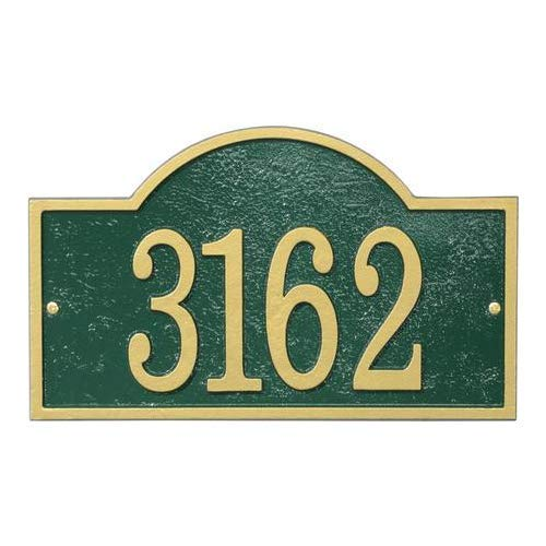 Fast & Easy Collection FEA1GG Arch House Numbers Plaque with Cut-Out Shape Made in The USA Alumi-Shield All Weather Coating and Aluminum Material in Green and Gold Finish