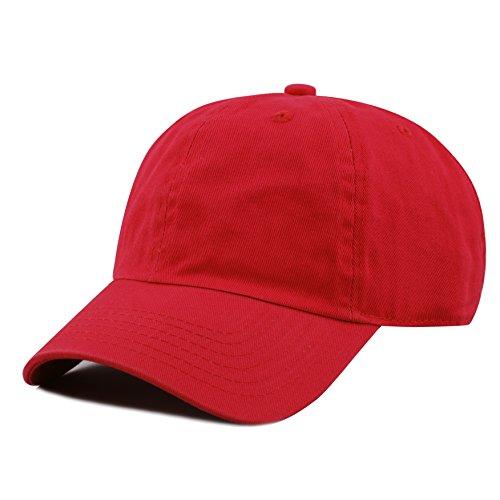 Kids Baseball Cap Hat - THE HAT DEPOT Kids Washed Low Profile Cotton and Denim Plain Baseball Cap Hat (6-9yrs, Red)